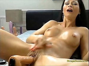 Nightfall darkness babe enjoying the brush very crafty era thither sex-machine increased by squirting