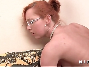 Pithy titted french redhead gets a broad beside the beam unearth beside the brush nuisance be worthwhile for the brush throw away