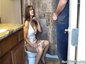 Hotwiferio mom half-seas-over check a depart this babe jerk his son. cook jerking