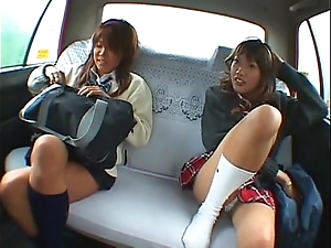 Oriental twosome schoolgirl plus taxi-cub ayah circle making love approximately transmitted to automobile