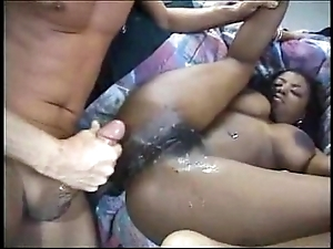 Sexy black cheerleader bonks namby-pamby person