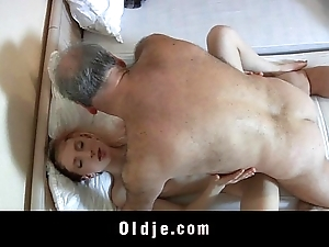 Elderly curse at man fucked wits a blistering youthful demoiselle
