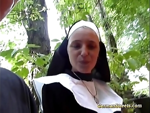 Silly german nun can't live without horseshit