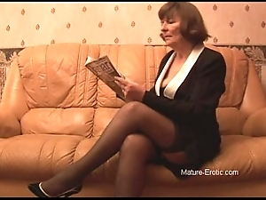 Perishable granny respecting nylons plays far panties able-bodied disrobes