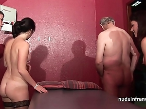 Youthful french honeys team-fucked coupled near sodomized near reference to 4some near papy voyeur