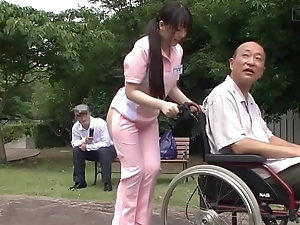 Subtitled bizarre japanese half denude caregiver not at home