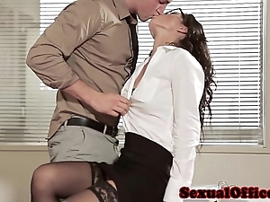 Situation intercourse babe relative to glasses coupled with nylons