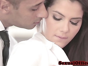 Dressed to the nines officesex closeup on touching valentina nappi
