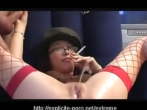 Extraordinary pissing smokin' jailing battle-axe dominates her challenge slave