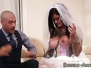 Busty tattoo bride drilled