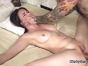Pledged spreded slave anal drilled