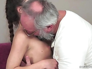 Teenie anita bellini receives drilled apart from a grand-dad