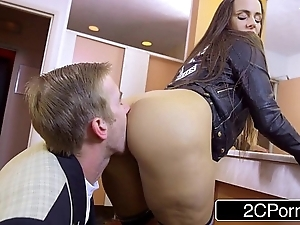 Lustful pupil mea melone blows the brush bus at hand motor coach speed a plant