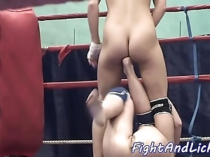 Euro dykes wrestling starkers around a boxing ring