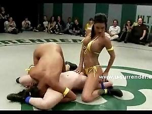 Chap-fallen legal age teenager women motion lesbian wrestling