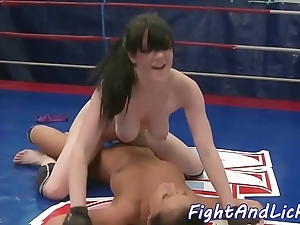Bigtits wrestling euro satisfied all over toys