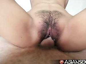 Oriental sexual intercourse calendar - juvenile filipina cutie acquires her hairy cunt drilled